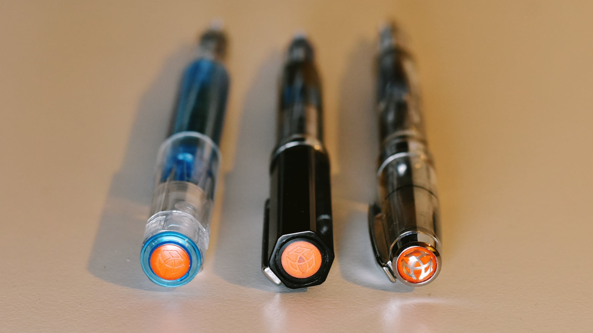Left-to-right: The TWSBI Go, Eco, Diamond 580